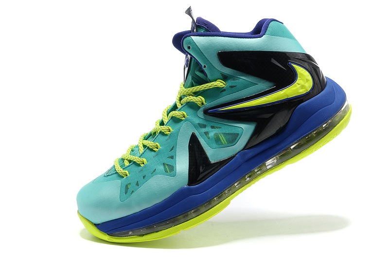 Nike Lebron James 10 Shoes PS Elite Blue Yellow