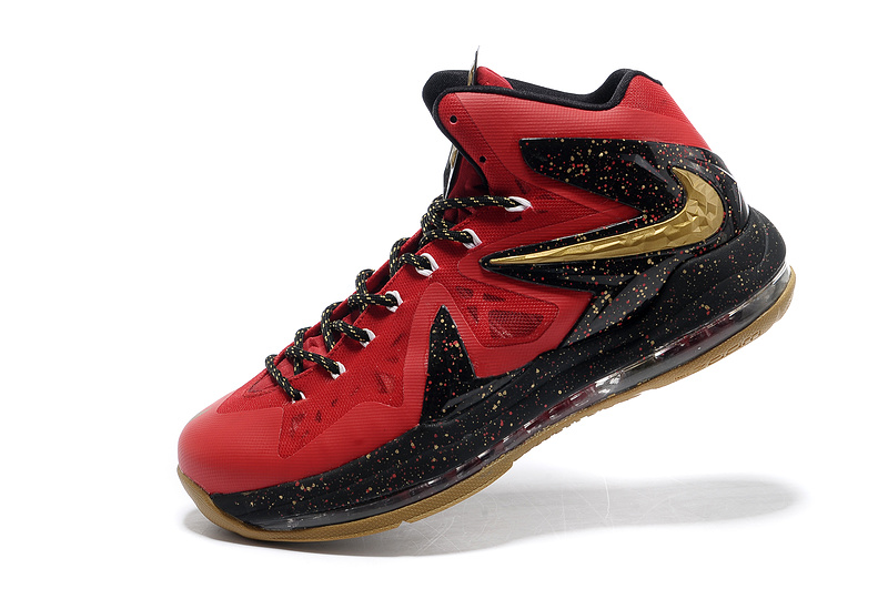 Nike Lebron James 10 Shoes PS Elite Red Black Gold