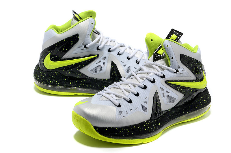 Nike Lebron James 10 Shoes PS Elite White Black Yellow