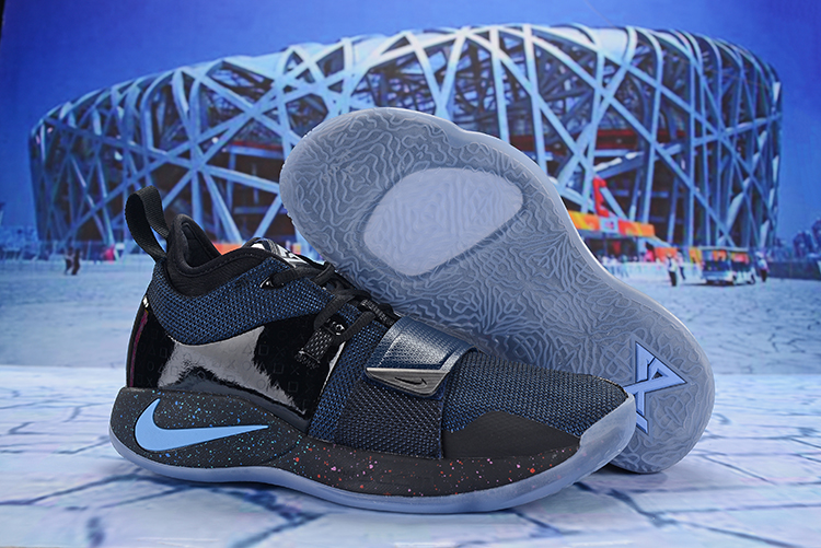 Nike PG 2 Plus Black Blue Swoosh Shoes