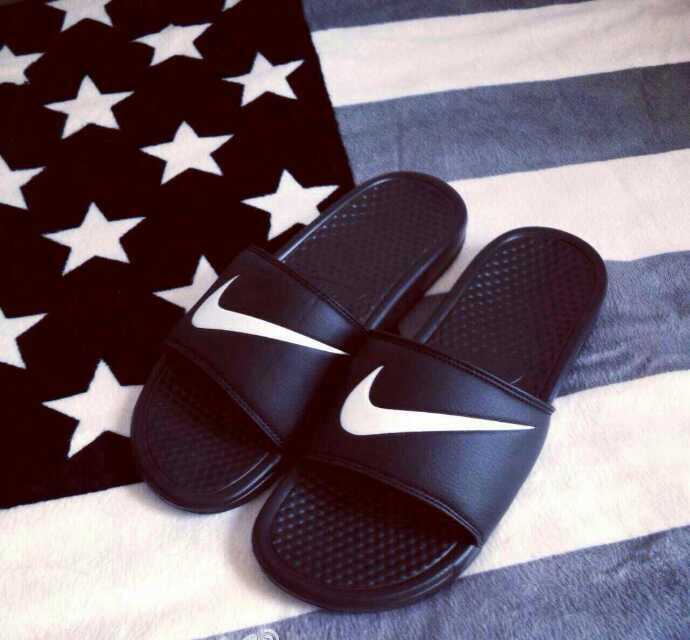 Nike Sandal Black White Swoosh