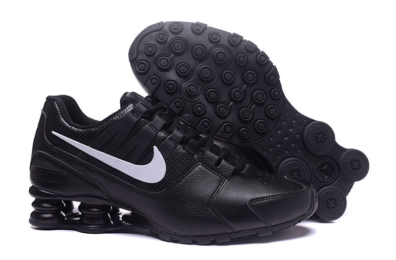 Nike Shox Avenue All Black White Swoosh Shoes