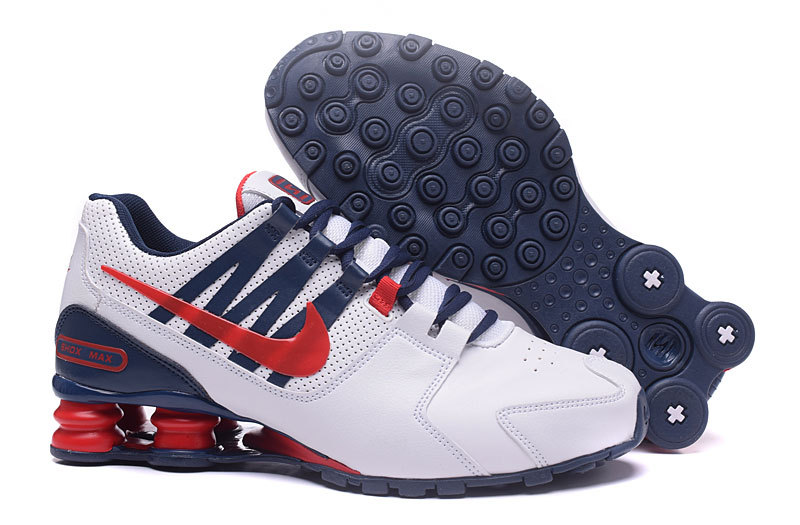 Nike Shox Avenue White Blue Red Shoes