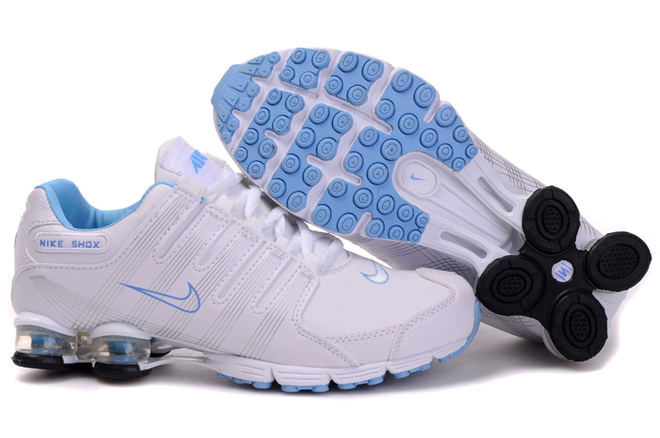 Nike Shox R4 Air Cushion PU Women Shoes White Skyblue