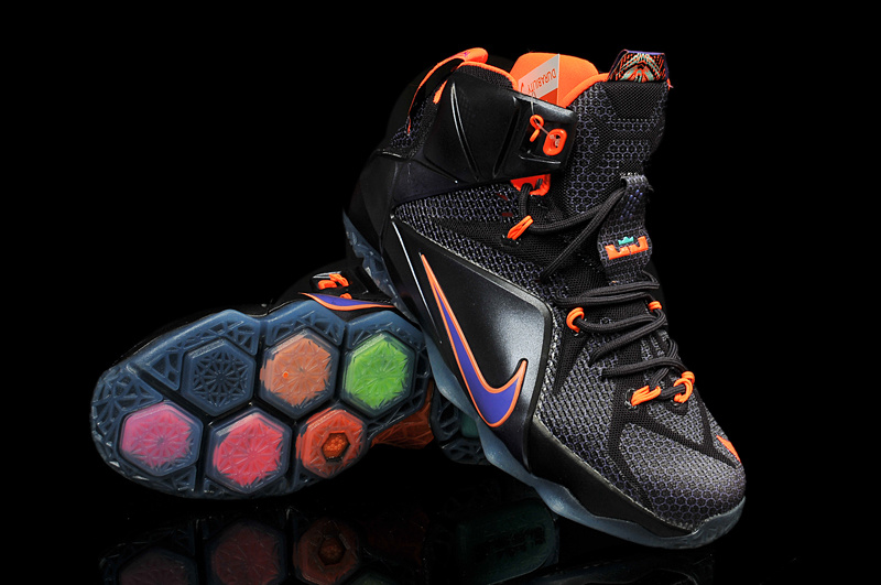 Nike Women's Lebron James 12 Black Orange Shoes