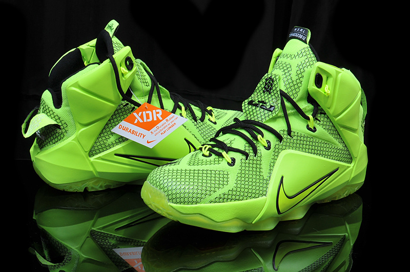 online store f85ee 361bd ... france nike teenage lebron james 12 fluorscent green black shoes 8b0f2  86541