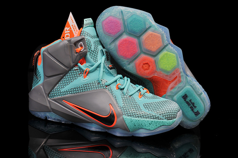 Nike Teenage Lebron James 12 Green Grey Orange Shoes