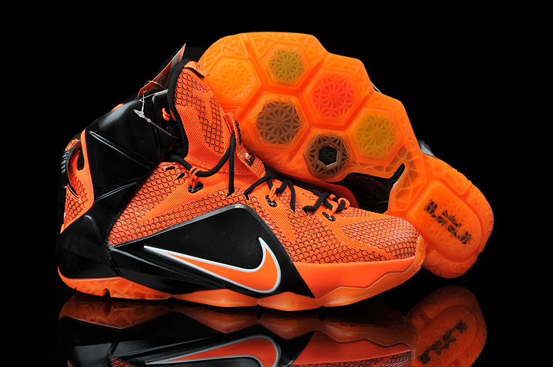 Nike Teenage Lebron James 12 Orange Black Shoes