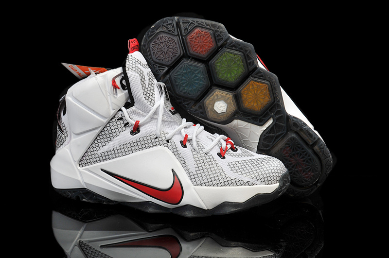 Nike Teenage Lebron James 12 White Grey Red Shoes
