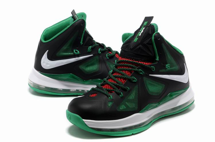 Nike Lebron James 10 Shoes Black Green White