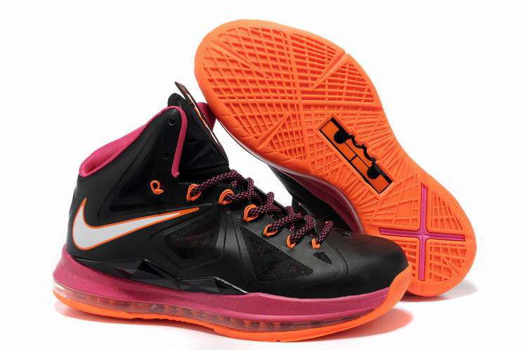 Nike Lebron James 10 Shoes Black Pink Orange