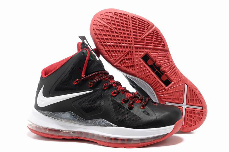 Nike Lebron James 10 Shoes Black White Red