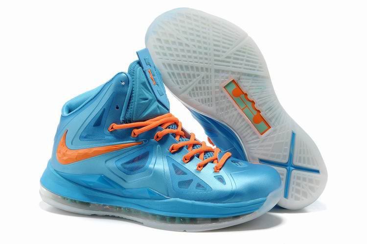Nike Lebron James 10 Shoes Blue Orange