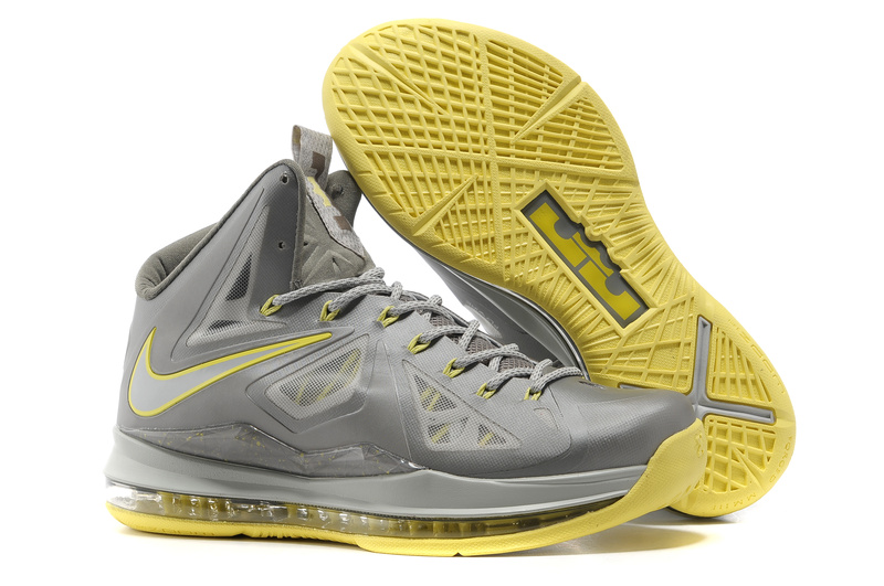 Lebron James 10 Shoes Grey Yellow