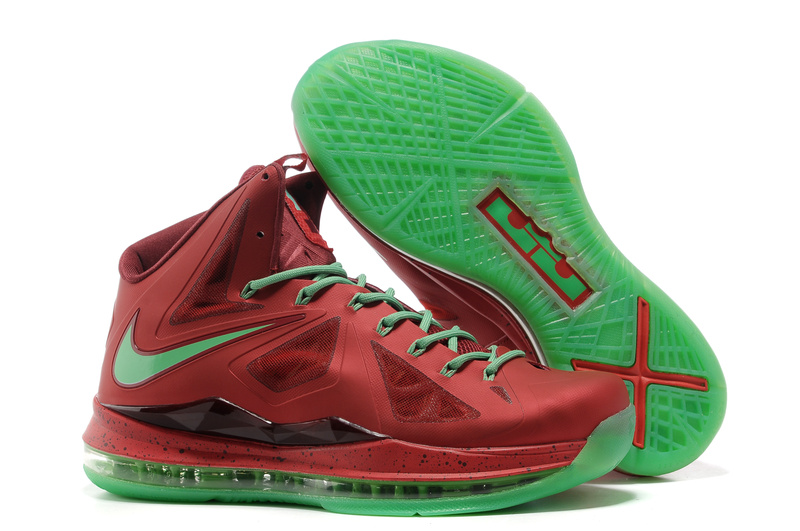 Lebron James 10 Shoes Red Green