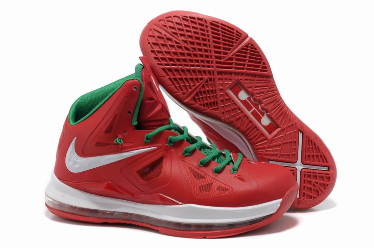 Lebron James 10 Shoes Red White Green