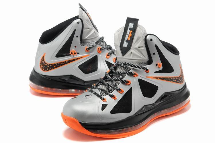 popular lebron 10 shoes white black orange for sale