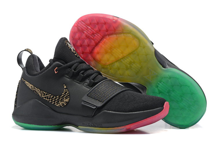 Nike Zoom PG 1 Black Gold Rainbow Sole Shoes