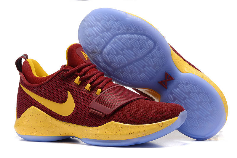 Nike Zoom PG 1 Wine Red Yellow Shoes