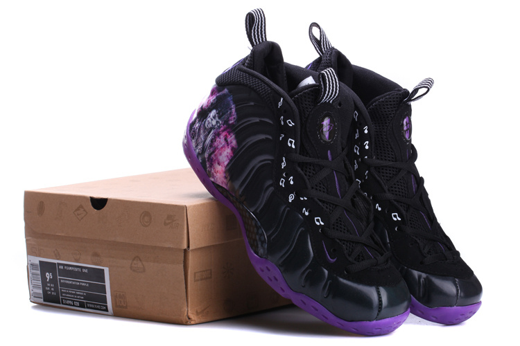 2014 Air Foamposite One Black Purple Shoes