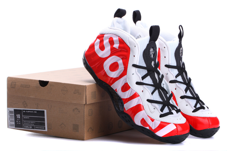 2014 Air Foamposite One White Black Red Shoes