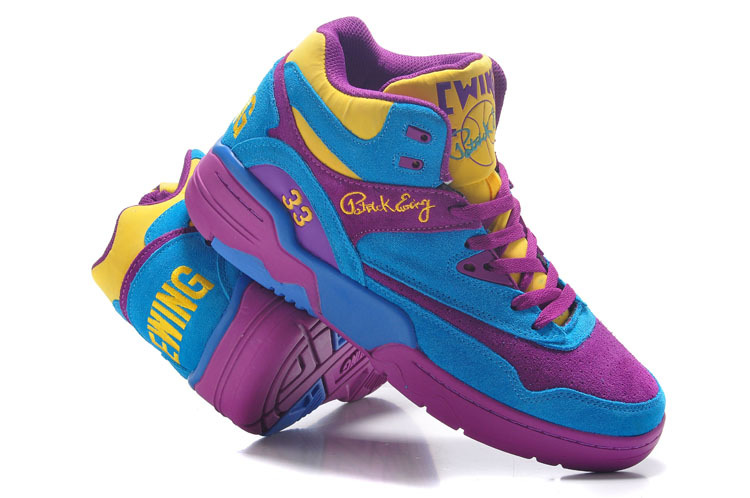 Patrick Ewing 33 Blue Purple Yellow Basketball Shoes