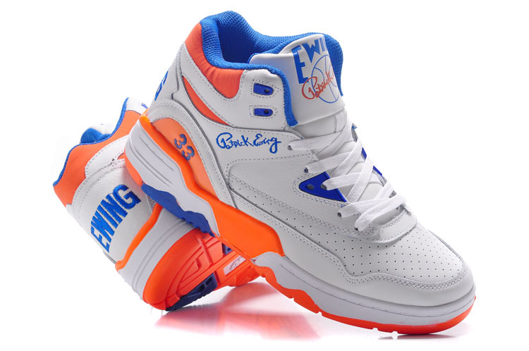 Patrick Ewing 33 White Blue Orange Basketball Shoes