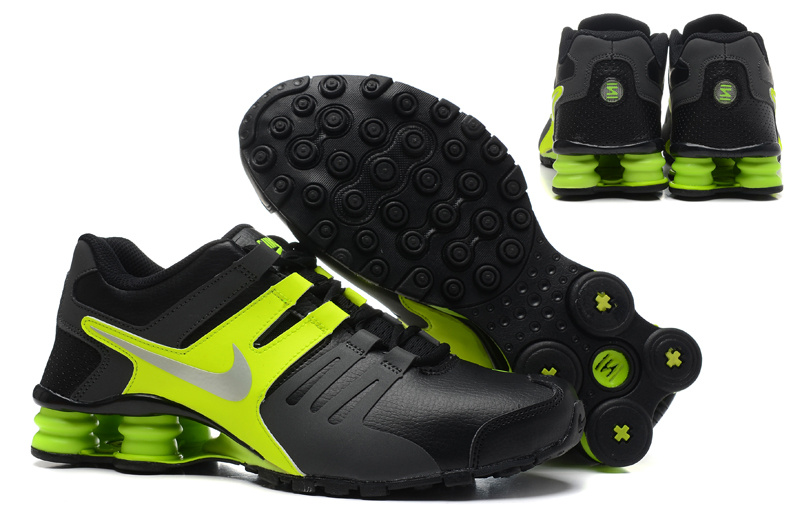 Real Men Nike Shox Current Black Fluorscent Green