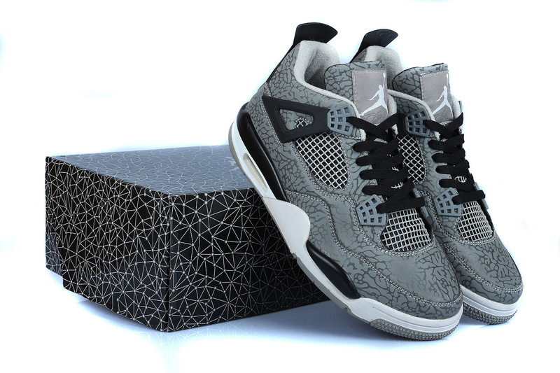 Retro Jordan 4 Temporal Rift by Grey Black White Shoes