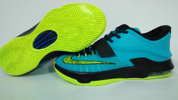 Teenage Nike KD 7 Blue Black Fluorscent Green Shoes