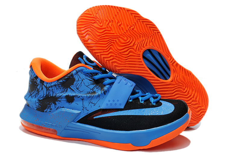 Teenage Nike KD 7 Blue Black Orange Shoes
