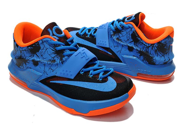 Teenage Nike KD 7 Blue Black Orange Shoes [NTK003] - $200 ...  Kds Shoes Blue And Orange