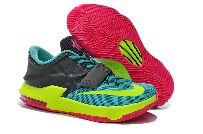 Teenage Nike KD 7 Blue Grey Fluorscent Green Pink Shoes