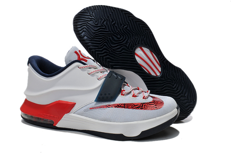 Women's Nike KD 7 White Red Deep Blue Shoes