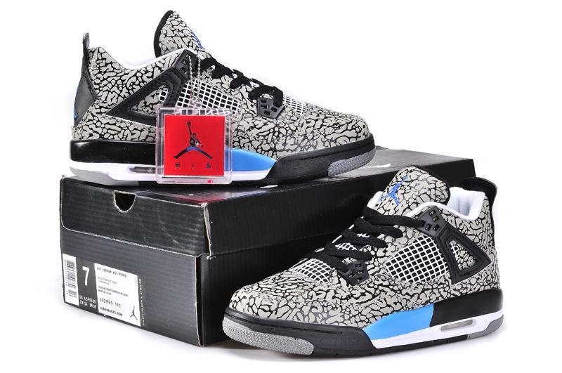 White Black Jordan 4 Crack Limited Shoes For Women