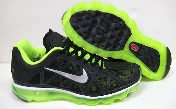 Women Nike Air Max 2009 5 Mesh Black Green Silver Shoes