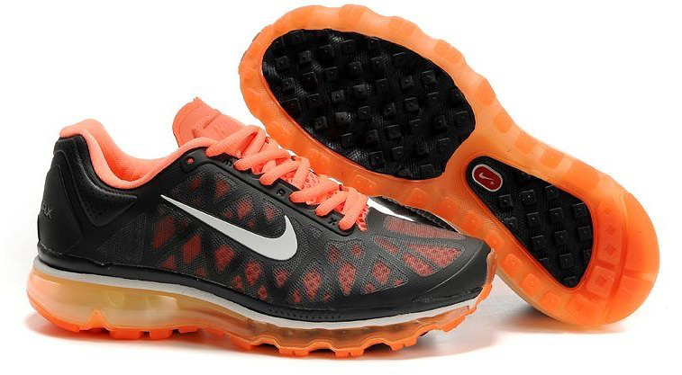 Women Nike Air Max 2009 5 Mesh Black Orange White Shoes