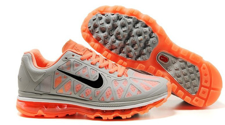 Women Nike Air Max 2009 5 Mesh Grey Orange Black Shoes