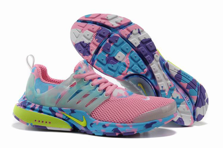 Women Nike Air Presto 1 Camo Pink Blue Yellow Shoes