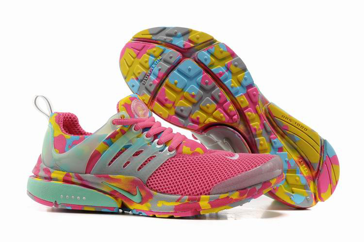 Women Nike Air Presto 1 Camo Pink Light Green Yellow Shoes