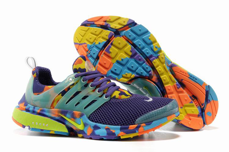 Women Nike Air Presto 1 Camo Purple Light Green Orange Shoes