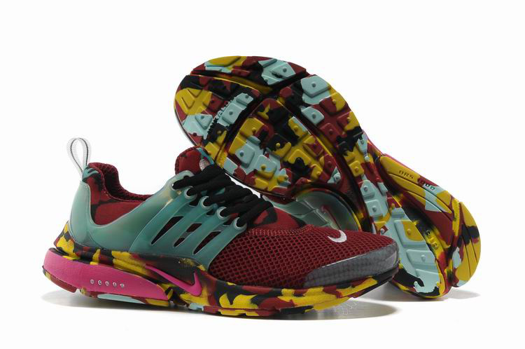 Women Nike Air Presto 1 Camo Wine Red Light Green Yellow Shoes