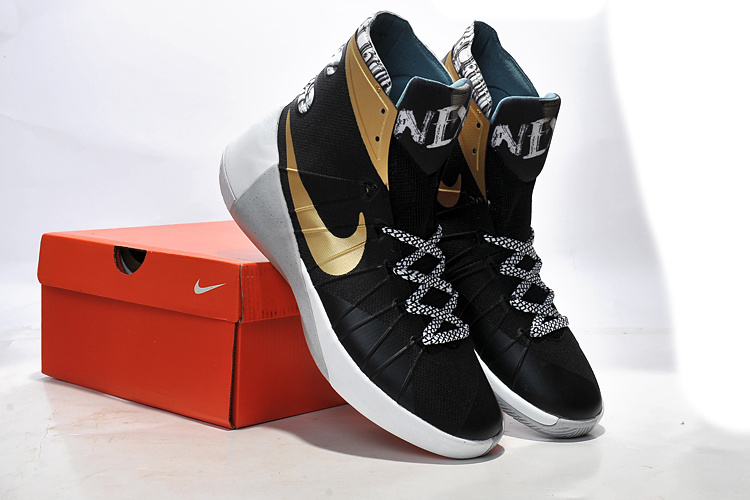 Women Nike Hyperdunk 2015 Black Gold Basketball Shoes