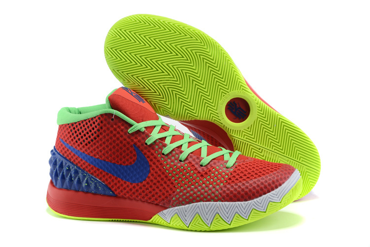 Women Nike Kyrie 1 Wine Red Fluorscent Blue Basketball Shoes