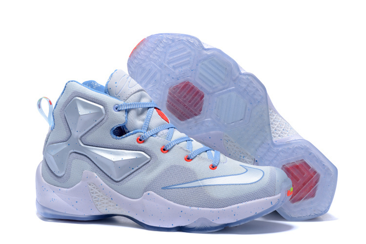 Women Nike Lebron 13 Christmas White Silver Baby Blue Basketball Shoes
