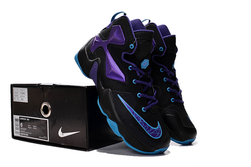 Women Nike Lebron James 13 Black Blue Shoes