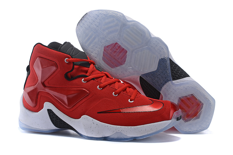 Women Nike Lebron James 13 Red Black White Shoes