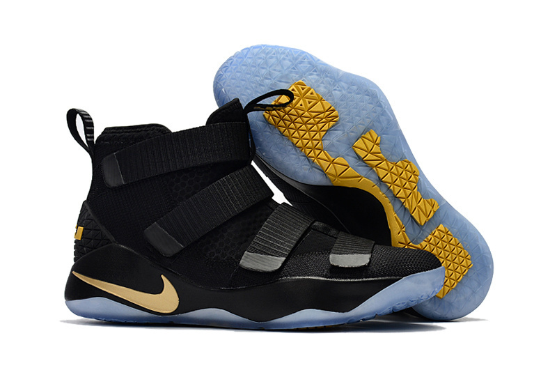 Women Nike Lebron Soldier 11 Black Gold Shoes
