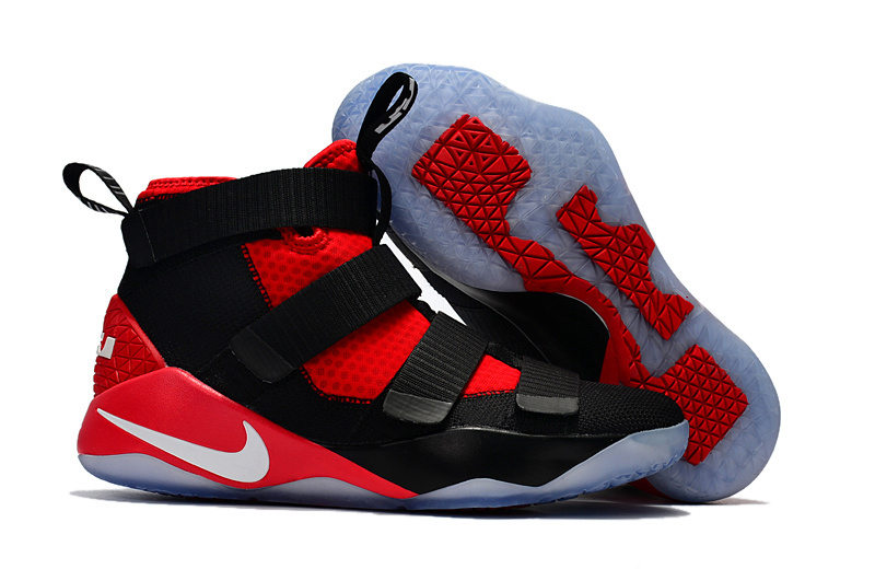 Women Nike Lebron Soldier 11 Black Red Shoes