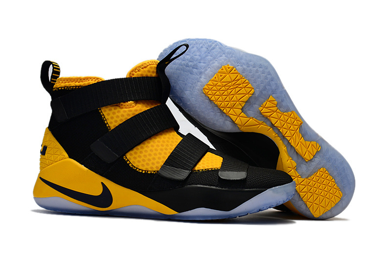 Women Nike Lebron Soldier 11 Black Yellow Shoes